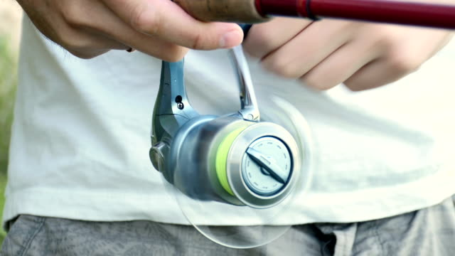 HD - Spinning reel. Close-up video