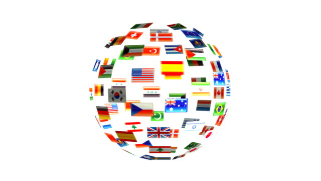 Spinning sphere of flags video