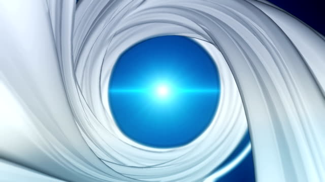 Spiral background with blue flares. Seamless loop video