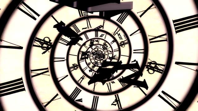 spiral retro clock animation video
