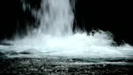Splash on the basin of a waterfall (close up) video