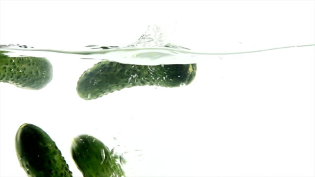 Splashing natural cucumber video