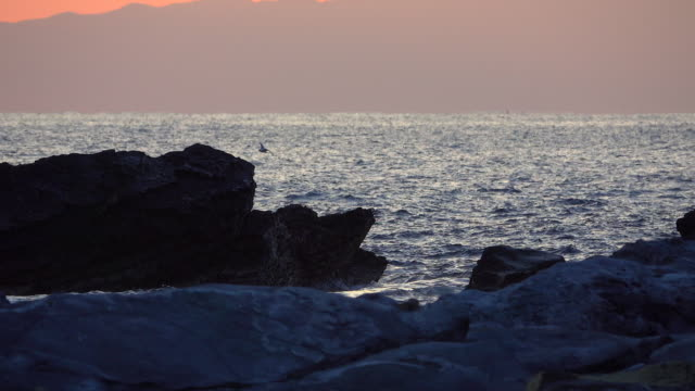 Splashing wave at dusk video