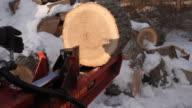 Splitting firewood with a wood splitter video
