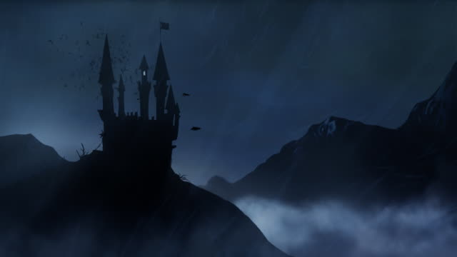Spooky Castle in the storm - loop video