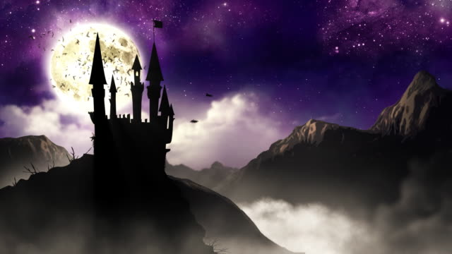 Spooky Castle with bats  HD loop video