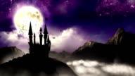 Spooky Castle with bats - zoom in HD video