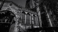 Spooky dark old gothic church in the rain storm video