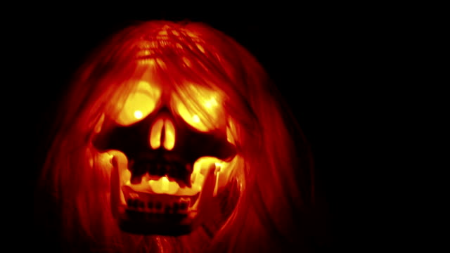 Spooky skull flying, halloween backgrounds video