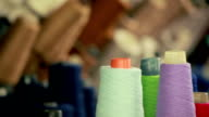 Spools of thread in different colors video