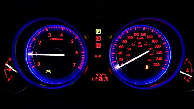 Sport Car Dashboard Illuminated at Night video