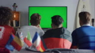 Sport fans sitting on couch watching tv and cheering video