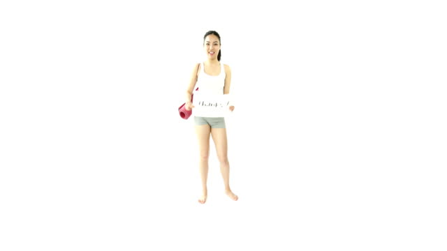 sport girl isolated on white grateful with thanks sign video