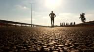 Sport jogging male running video