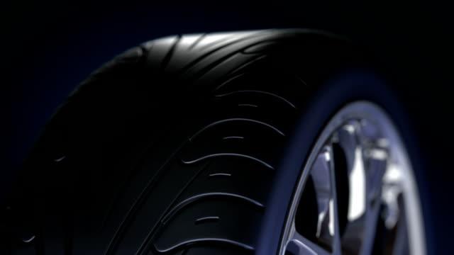 Sport tire rotating closeup. video