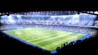 Sports field in light of spotlight video