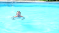 Sports guy, happy to swim in basseyne.Slow motion video