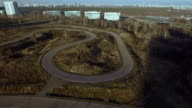 Sports track aerial view video