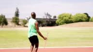 Sportsman doing javelin throw video