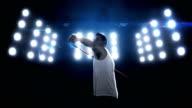 Sportsman is practising javelin throw video