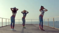 Sporty girls shaking their butts on the pier near sea video
