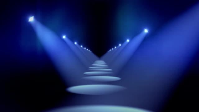Spotlights in Hallway Background Loop Blue video