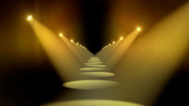 Spotlights in Hallway Background Loop Yellow video