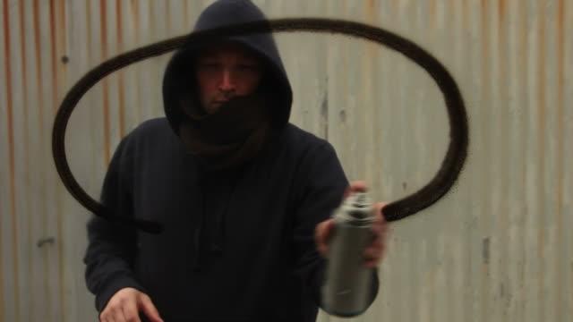 Spraying speech bubble Graffiti on glass video