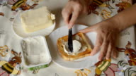 Spreading Cream Cheese on a Piece of Toast video