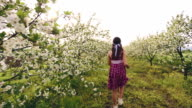 Spring girl among blooming trees video