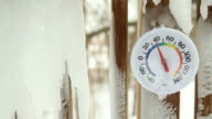 Spring Icicles Melting around Outdoor Thermometer video