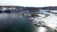 Spring lake from the height of bird flight video