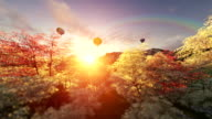 Spring scenery at sunset, air balloons flying video