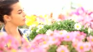 springtime smiling woman smells the daisies in flowers garden video