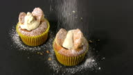 Sprinkling Icing Sugar to Decorate Butterfly Cupcakes video