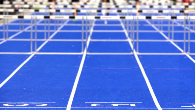 Sprint Hurdle Race For Men On Blue Track video