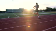 Sprinting On The Track At Sunset video