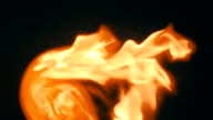 Spurts of flame  on a black background.  Slow mo, slo mo video