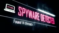 Spyware detected, found threats screen text, system message, notification video