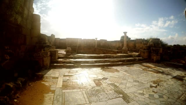 Square of Roman Agora Floor With Marble Tiles white columns panorama antique town Salamis video