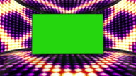 Squares Bulb Lights Room Background with Green Screen, Loop, 4k video