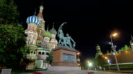 St. Basils cathedral and monument to Minin and Pozharsky timelapse hyperlapse in Moscow, Russia video