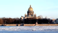 St Isaac Cathedral and Neva river in winter, Saint-Petersburg video