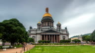 St. Isaac Cathedral timelapse hyperlapse in Saint-Petersburg, Russia. Sityscape video