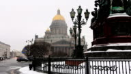 St. Isaac's Cathedral during snowfall video