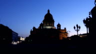 PAN: St. Isaac's Cathedral Silhouette in White night video