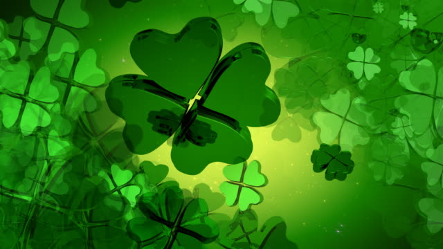St. Patrick's Day - Green Four Leaf Clover Design video