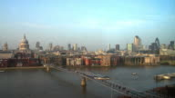 St Pauls Cathedral & Millennium Bridge Aerial View video