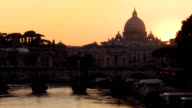 St Peter's Basilica at Sunset Rome video