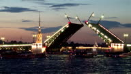 St. Petersburg. Opening of Palace Bridge in the white night video